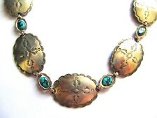 """Exquisite 7-concho sterling silver Southwestern necklace, turquoise, 24"""""""