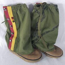 Zeyn Canvas Suede LAMB Gwen Stefani Rasta Boots Size 8 Green Tan