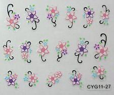 Accessoire ongles: nail art - Stickers autocollants - motifs fleurs rose violet