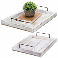 MyGift Set of 2 Whitewashed Wood Nesting Serving Trays with Modern Metal Handles