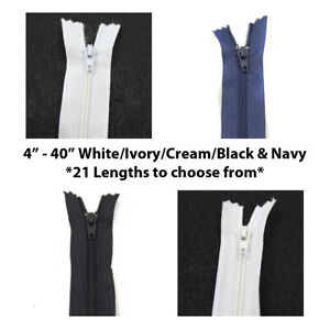 """4"""" - 40"""" No.3 NYLON CLOSED END ZIPS ~21 LENGTHS~ ZIPPER SEWING DRESSMAKING"""