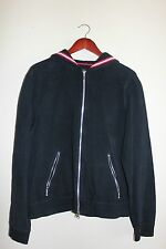 Mens Contigo Nautical Full Zip Hoodie - L - Navy / White / Red - Silver Hardware