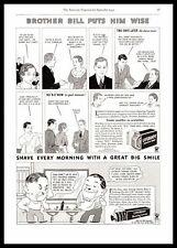 "1934 Lifebuoy Soap ""Brother Bill Puts Him Wise"" Shaving Cream Cartoon Print Ad"