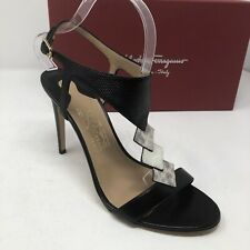 $795 New Salvatore Ferragamo Womens Black Shoes Ladies Sandals Size 9 C US 39 EU