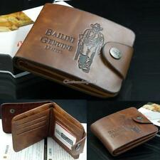 Men Genuine Retro Cowboy Leather Bifold Wallet Multi Pocket Credit Card Purse