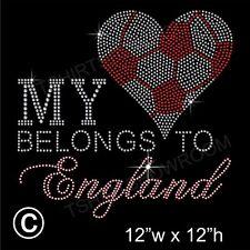 'My Heart Belongs to ENGLAND' Rhinestone Transfer Hotfix Iron on Motif + Gift