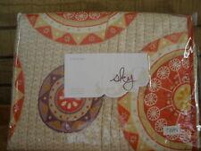 Sky Sundial Twin Quilt Set Pillowsham Red Orange Cream Reversible New Linens