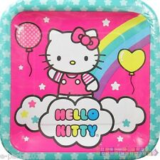 HELLO KITTY Balloon Rainbow LARGE PAPER PLATES (8) ~ Birthday Party Supplies