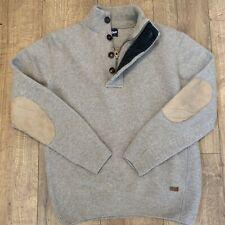 Barbour Patch Half Zip Buttons Jumper Sweater 100% Wool Stone MKN0585 Sz Medium