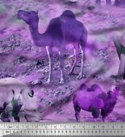 Soimoi Lila Baumwoll-Voile Stoff wilde Tiere Szene gedruckt Craft-LIZ