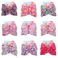 "8"" Large Heart Bow Siwa Hair Clip For Girls Printed Ribbon Valentine's day Jojo"