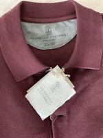 $395 ISAIA Napoli Men's Red Maroon Polo With Logo NWT,SIZE XL Short Sleeves