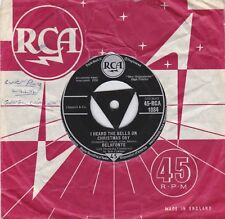 """Harry Belafonte 1958 - 7"""" Vinyl 45 RPM - The Son Of Mary / I Heard The Bells On"""