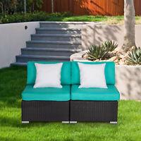 2 PCs Patio Rattan Sofa Set Wicker Armless Combined Furniture Tiffany Blue
