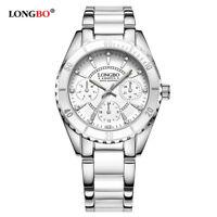 LONGBO Elegant Quartz Wrist Watch Fashion Women Watches Ladies White Pink Strap