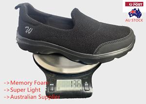 Women Lady Slip on Shoes Mesh Walking Black Sneakers Trainer Running Memory Foam