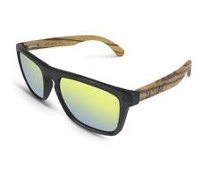 TWO-X Sonnenbrille Wood schwarz gelb Wayfarer Look Holz Zebrano verspiegelt