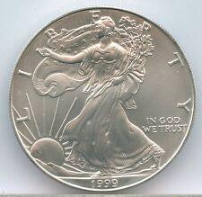 1999 $1 American Silver Eagle BU 1oz .999 Fine Silver Stock Photo