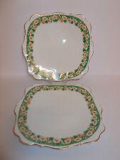2 x VINTAGE 1950s ROSLYN FINE PORCELLANA cinese Quadrato Torta Pane PIASTRE Floreale BELLA