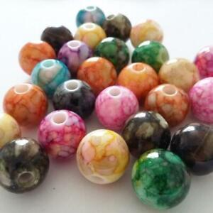 10pcs Mottled Mixed Color Large Acrylic Beads 14mm Jewellery Crafts - B23588