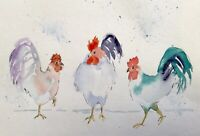 THREE CHICKENS ORIGINAL PRINT OF WATERCOLOUR BY DIANE ANTONE IDEAL XMAS GIFT
