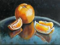 """Orange"" Original oil painting Impressionism realism still life 9x12"""