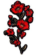 Large Rose Patch 17cm x 11cm Leaf Embroidered Iron Sew On Floral Craft Flower