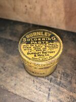 Vintage Burnley Soldering Flux Paste Tin (Empty) Burnley Battery & Mfg. Co.