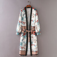 Womens Floral Kimono Cardigan Boho Beach Open Front Top Long Casual Coat Jacket