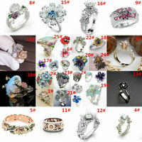 Fashion 925 Silver Fire Opal Flower White Topaz Wedding Jewelry Engagement Ring