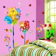 Colorful Cartoon Graffiti Flowers Removable Wall Sticker Decor Girl Kids Nursery
