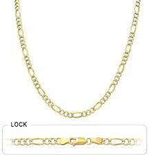 """4.6mm 16"""" 10.2gm 14k Gold Two Tone Pave Open Men's Women's Figaro Chain Necklace"""
