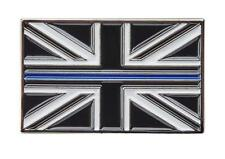 Thin Blue Line Union Jack UK GB Brooch Pin Badge Police