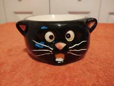 "Black Cat Face Ceramic Cat food dish 5.5"" Dia. and 3"" High. 1.5"" deep bowl"