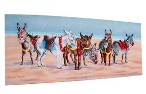 DONKEY CANVAS PICTURE Ready to hang Size 600x260mm Novelty seaside donkey canvas