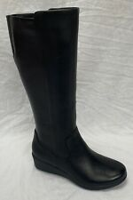 BNIB Ladies Clarks Unstructured Un Tallara Esa Black Leather Wedged Long Boots