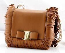 fdf5ef3dabc Authentic New Ferragamo Fringed Ginny Mini Vara Brown Beige Leather Flap  Shoulde