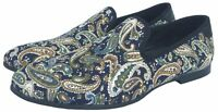 Men's Blue Printed Loafers Smoking Slippers Dress Shoes Slip on Casual Shoes New