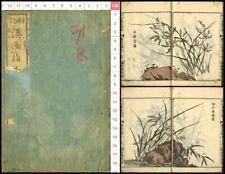 1880 Kanga shinan Orchid Flower Picture Japan Original Woodblock Print Book