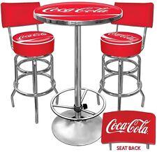 Coca Cola Pub Table Bar Stools w/ Backs Set Classic Vintage Collectible Man Cave