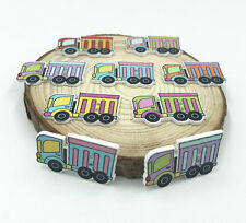 50X Mixed color Truck Buttons Wooden Sewing Scrapbooking transport tool 29mm