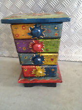 BLUE & GREEN Hand Painted Wooden Chest With 4 Compartments For Trinkets