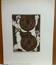 """Yvonne Davis """"Short View Of Long March"""" Hand Colored Signed & Numbered Etching"""