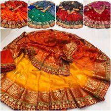Wedding Bandhani Bandhej Pallu Foil Print Gota Patti Border Saree Indian Sari