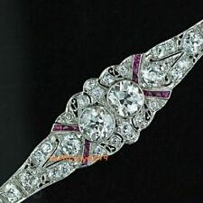 Vintage Art Deco Twin Diamond D/VVS1 925 Sterling Silver Fine Bracelet 7 Inches