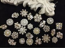 10 Pcs Lot Assorted Rhinestone Pearl Button Embellishment Pearl Crystal Wedding