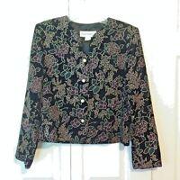 Norton McNaughton Velvety Jacket womens Size 10 Black Gold Floral