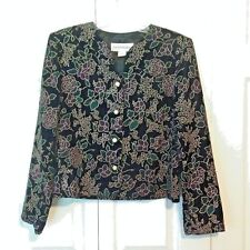 Norton McNaughton Velvety Jacket Size 10 Black Gold Fancy Floral Dressy