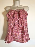 BANANA REPUBLIC Womens Silk Cami Top Size XS Floral Pinks Ruffle Strappy