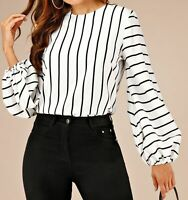 Round Neck Bishop Sleeve Long Sleeve Elegant Striped Blouse Top Casual